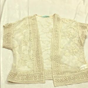 Maurices white waist length cover up